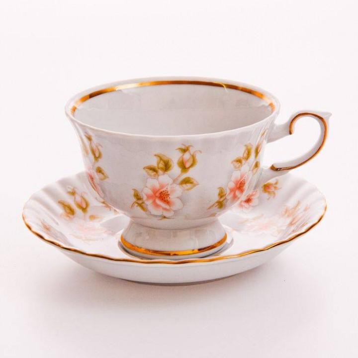 """Набор для чая """"Цветы Рельеф золото""""(чашка200 мл.+блюдце) на 6 перс 12 пред"""