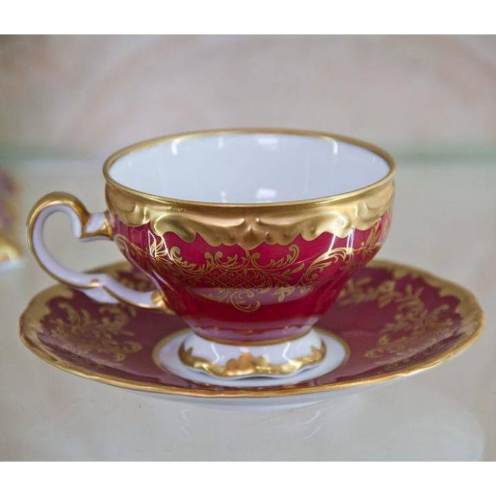 """Набор для кофе""""Ювел красный"""" на 6перс.12пред."""