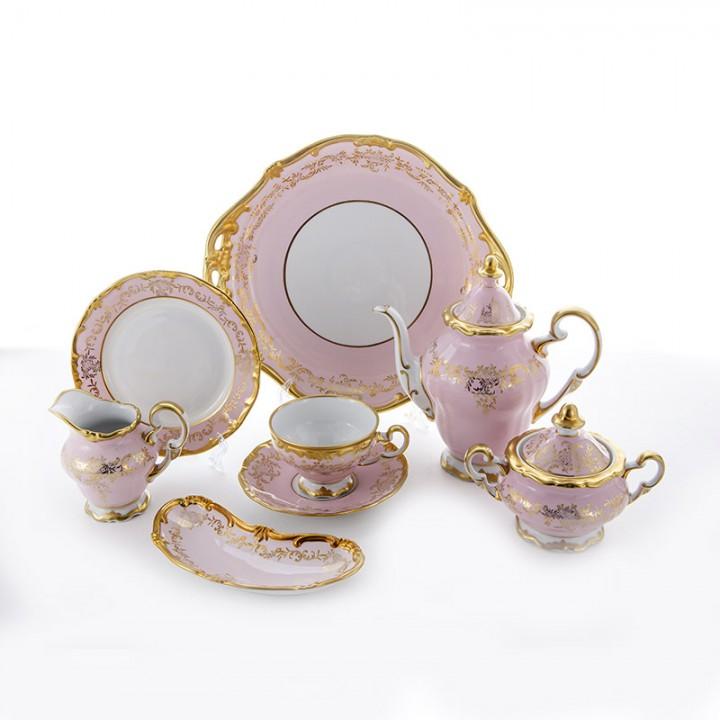 """Сервиз чайный 210мл.на 6перс.23пред.""""Ювел розовый"""", наб."""