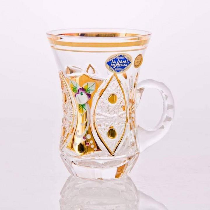 """Набор для чая - Армуда """"Хрусталь с золотом"""" с ручкой"""