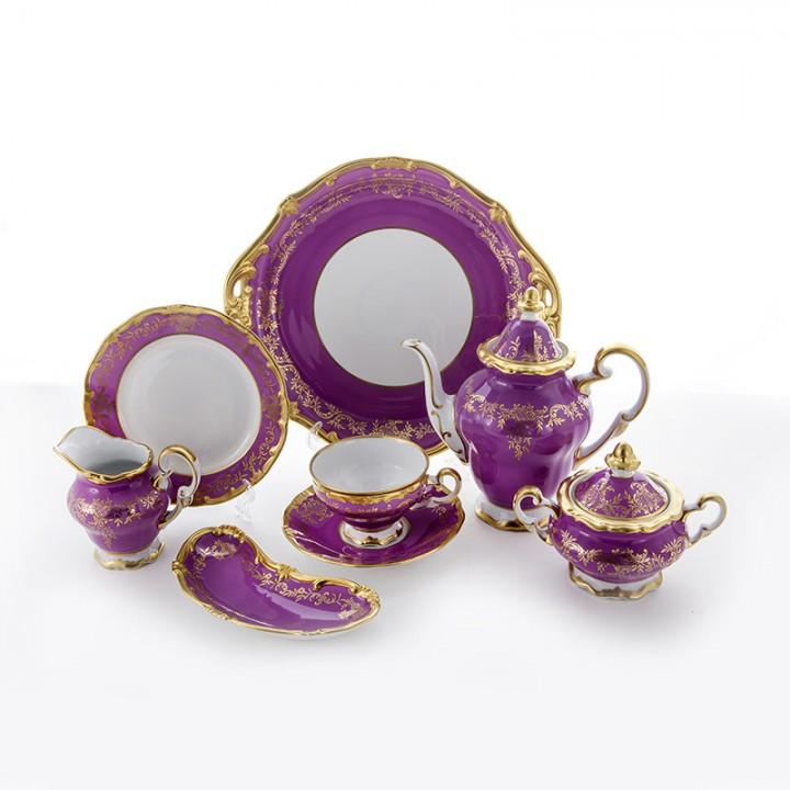 """Сервиз чайный 210мл.на 6перс.23пред.""""Ювел фиолетовый"""", наб."""