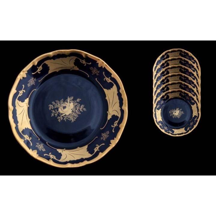 """Набор тарелок 19см.6шт.""""Кленовый лист синий"""", наб."""