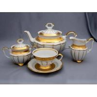 """Сервиз чайный """"Лента золотая матовая1"""" на 6перс.15пред., наб."""