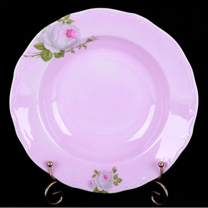 "Набор глубоких тарелок 24см. 6шт. ""Алвин розовый"", наб."