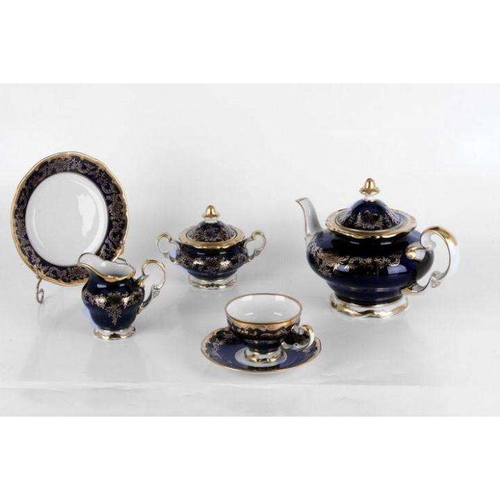 """Сервиз чайный на 6перс.21пред.подарочный """"Ювел синий"""", наб."""
