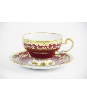 """Набор для чая 210мл. """"Ювел красный """" на 6перс.12пред. подарочный, наб."""