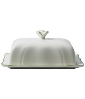 1645CBEU22 Масленка Gien, Классика, зеленая полоска, 17,8x13,5 см.
