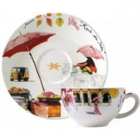 17482PTA01 Чашка и блюдце Gien (для завтрака), Индия, 260 мл., 18 см.