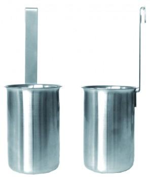 TCPUM Стакан для приборов CRISTEL, Навеска, мерный, 8 см., матовый нержавейка, фиксированный крючок