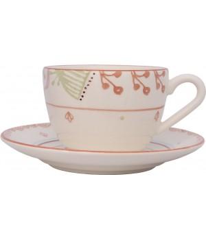 F361500328D0491 чашка чайная с блюдцем Matceramica, Магнолия, ваниль, орнамент - полоски