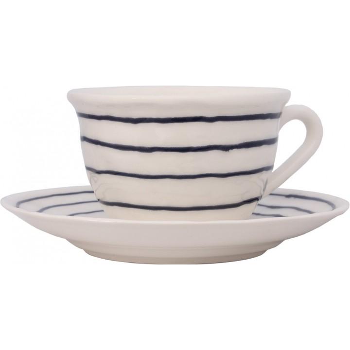 F462500328C0062 чашка чайная с блюдцем Matceramica, Капля, ваниль, орнамент - полоска синяя