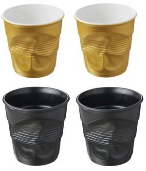 FR137 мятый стакан Revol, Фруаз , 80 мл., в , 4 шт., 2 золотых матовых + 2 черных сатин