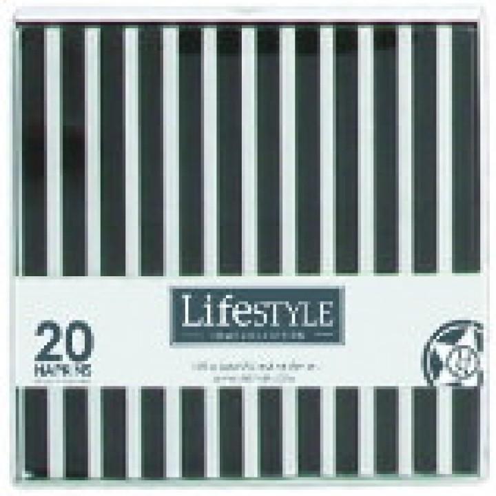 104504 Салфетки бумажные LIFESTYLE, черная полоска, 17*17 см.