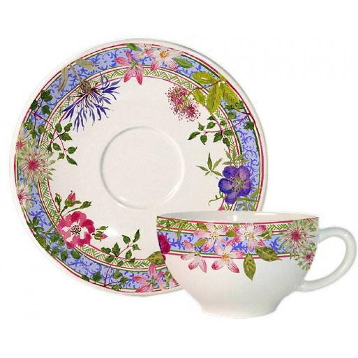 Чашка и блюдце Gien (для завтрака), Многоцветие, 260 мл., 18 см.