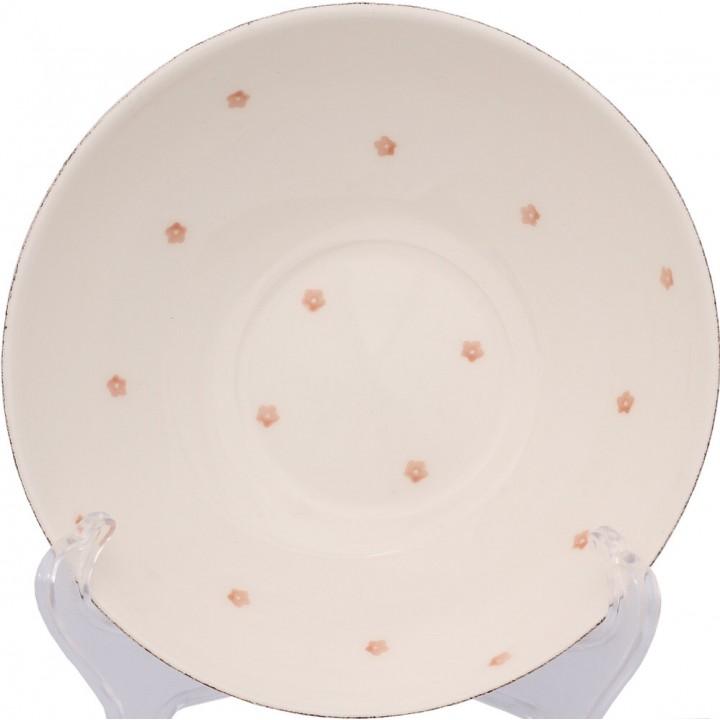 F466800328D0492 пиала Matceramica, Милые шестнадцать, ваниль, орнамент - розовые цветы