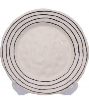 Тарелка обеденная Matceramica, Капля, ваниль, орнамент - полоски синие