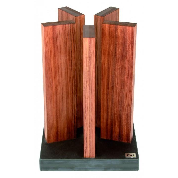 STH-1 Блок для ножей Stonehenge KAI, Подставки для ножей , гранит/красное дерево, 5 деревянных колон, до 10 ножей, 21/21/30 см.