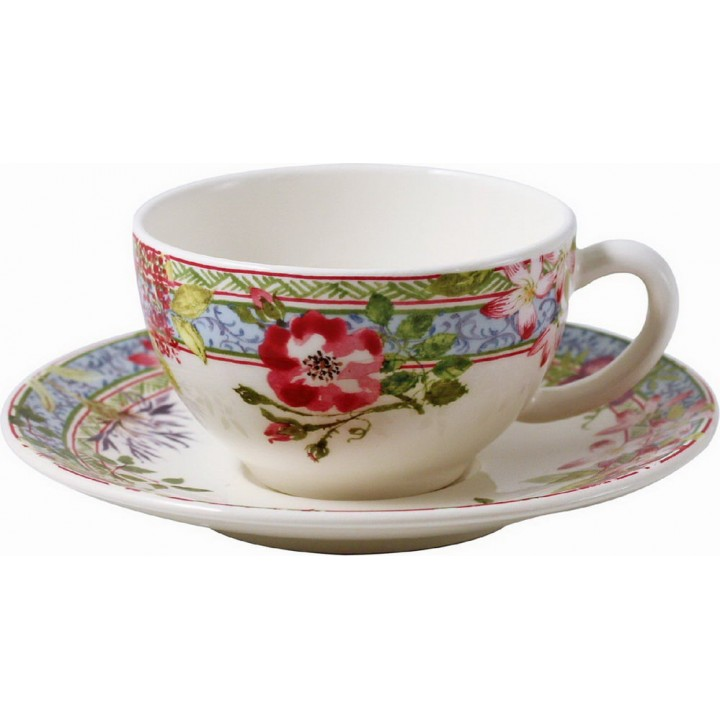Чашка и блюдце Gien (для чая), Многоцветие, 160 мл., 15,2 см.