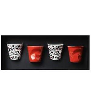 FR213 мятый стакан Revol, Фруаз, 80 мл., в , 4 шт., 2 стакана символы Франции + белый + красный