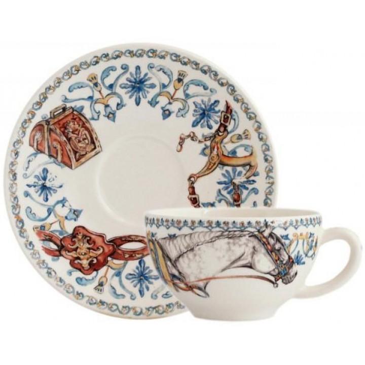 17892PTA01 Чашка и блюдце Gien (для завтрака), Лошади солнца, 260 мл., 18 см.