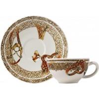 17512PTA01 Чашка и блюдце Gien (для завтрака), Лошади ветра, 260 мл., 18 см.