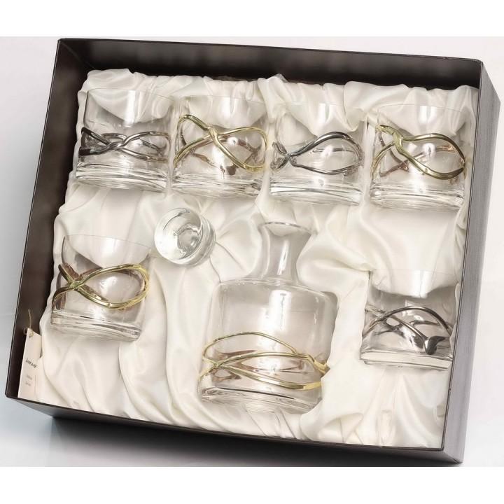 K DW 6 W DO OR/PL декантер для напитка и 6 стаканов для напитка ANORINVER, Дора, 3 золотых, 3 платиновых,  (дерево)