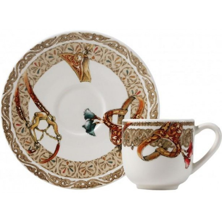 17512PTM01 Чашка и блюдце Gien (эспрессо), Лошади ветра, 80 мл., 12,9 см.