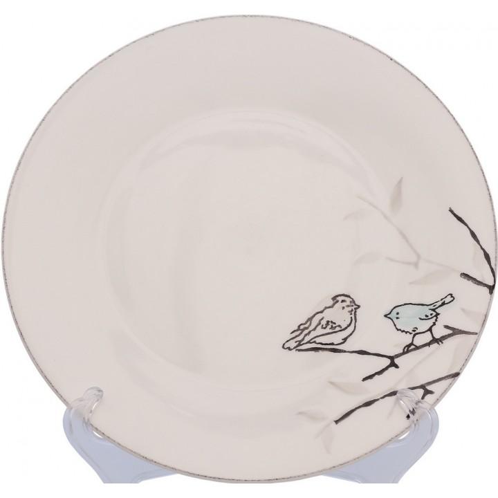 F470000328D0494 тарелка обеденная Matceramica, Соловей, ваниль, рисунок - птицы