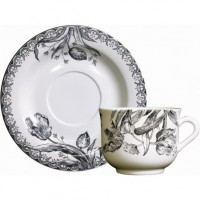 17012PTA50 Чашка и блюдце Gien (для завтрака), Тюльпаны, 430 мл., 17 см.