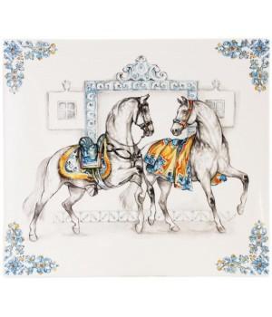 1789CCCA01 Блюдо квадратное Gien, Лошади солнца, 29,5x26,5 см.